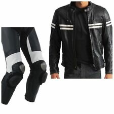 White Stripes Motorcycle Sports Leather Suit Motorbike Racing Biker Jacket Pant