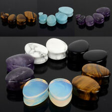Pair Natural Stone Ear Gauges Ear Plugs Double Flared Piercing 5mm-25mm