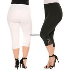 Women Casual Lace Solid Natural Elastic Waist Cropped Pants FF