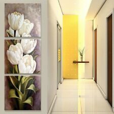 3 Panels Print Canvas Wall Art Tulip Flower Abstract Floral Painting Decor