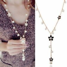 Women Long Gold Chain Necklace Pearl Flower Pendant Sweater Collar Chunky Gifts