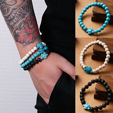 Men Women Natural Stone Turquoise Beaded Turtle Charm Bracelet Lucky Gifts Hot