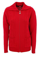W46 New Womens Zipped Cable Knit Long Sleeve Zip Up Fasten Jumper Top Ladies