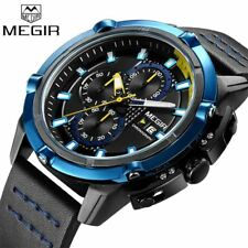 Megir Chronograph Quartz Watches Men Fashion Sports Watch Waterproof Leather Wri