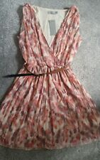 BNWT Topshop LOVE Chiffon Feather Print Wrap Dress Size M/L - 10/12