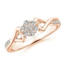 Natural Diamond Cluster Promise Ring 14K Gold Size 3-13