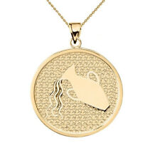Solid 10k Yellow Gold Aquarius Zodiac Disc Pendant Necklace