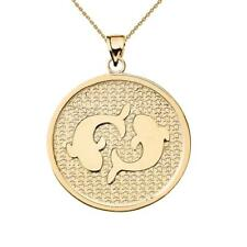 Solid 14k Yellow Gold Pisces Zodiac Disc Pendant Necklace