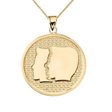 Solid 14k Yellow Gold Gemini Zodiac Disc Pendant Necklace