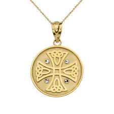 Solid 14k Yellow Gold Diamond Cuts Celtic Knot Cross Disc Pendant Necklace
