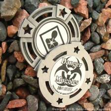 """Danger: Muggles! 2"""" Geomedal Geocoin with Cutouts (Antique Finish Colour)"""