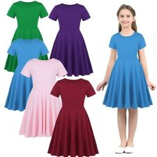 Kids Baby Girls Short Sleeve Casual Sundress Summer Birthday Party Dress Outfits