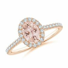 Oval Natural Morganite Diamond Halo Engagement Ring Gold Size 3-13