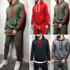 2Pcs Mens Tracksuit Hoodies Sweatshirt Pants Sets Sport Wear Casual Suit