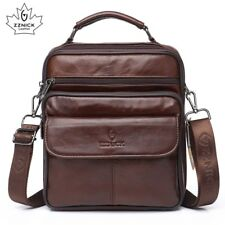 Mens Genuine Leather Handbag Shoulder Bag Oil Wax Cow Leather Bag Vintage Cas...