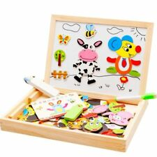 Jigsaw Puzzle Wooden Educational Children Kids Drawing Board Magnetic Animal Toy