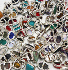 Coral Mix Gemstone Wholesale Lot 50pcs 925 Sterling Silver Handmade Rings