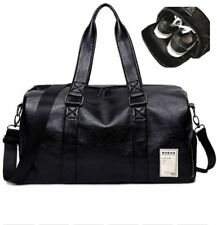 Unisex PU Leather Travel Duffel Bag Sports Gym Handbag With Shoe Compartment