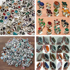 Choose !! 50pcs Gemstone 925 Sterling Silver Wholesale lot Rings All Sizes