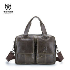 Mens Genuine Cow Leather Shoulder Messenger Bag Briefcase Handbag Laptop bag QU