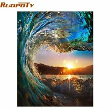 RUOPOTY Frame Sunset Wave Seascape DIY Painting By Numbers Kits Painting