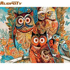 RUOPOTY diy frame Vintage Owl DIY Painting By Numbers Home Decoration Unique
