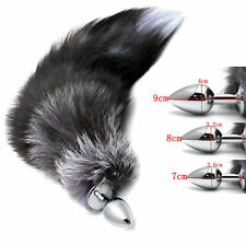 Funny Butt Toy Plug Anal Insert Stainless Steel Black Fox Fur Tail Stoppers