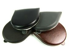 Unisex Genuine Leather Coin Tray Pouch Wallet Holder Money with Metal Trim Purse