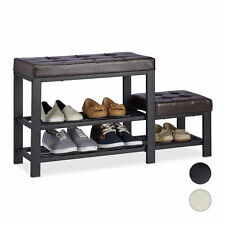 Shoe Bench, Faux Leather Seat, Backless Shoe Rack with Footstool