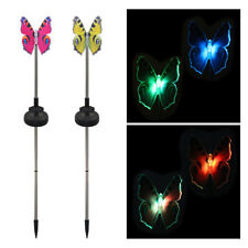 2 Pack LED Solar Garden Stake Light Butterfly Dragonfly Hummingbird Decora C2L9
