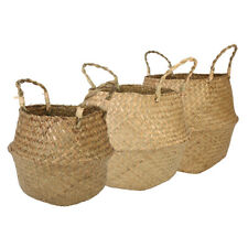 Garden Flower Pot Seagrass Belly Basket Storage Plant Pot Foldable Seeding