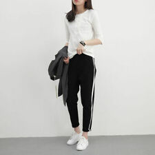 Pants Trousers Side Striped High Waist Breathable Harem Polyester 1Pcs Soft New