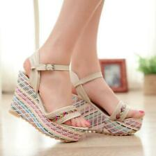 New Womens Open toe High Wedge Heel Ankle Strap Slingback Shoes Platform Sandals