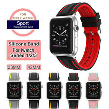 Replacement Sports Silicone Strap Band for Apple Watch Series 3/ 2/ 1 38mm 42mm