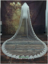 White/Ivory Wedding Veil 3m Long Sequins Lace Edge Cathedral Bridal Veils + comb