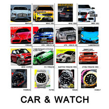 Super Car and Watch Poster Print Art Frame Wall Mounted Hanging Desk Home Decor