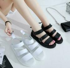 Womens Ankle Strap Buckle Roman Flat Gladiator Sandals Chunky Cleated Shoes New
