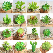 Artificial Green Succulents Fake Foliage Plant Decor Office Home Plastic Flower