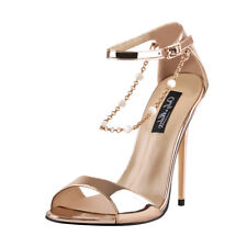Onlymaker Womens Beaded Chain Ankle Strappy Stilettos High Heel Sandals Open Toe