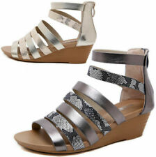 Womens Ladies Caged Open Toe Low Mid Wedge Heel Strappy Gladiator Sandals Shoes