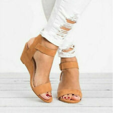 Womens Ladies Wedge Slingback Sandals Buckle Ankle Strap Peep Toe New Shoes Size