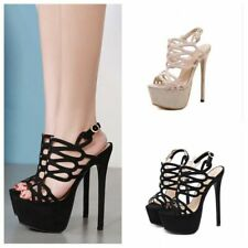 Womens Peep Toe Hollow Out Chic Party Slingback Sandals Clubwear Platform Shoes