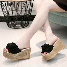 Shoes High Heels Slippers Pu Leather Thick Flower Pattern Wedge Sandals
