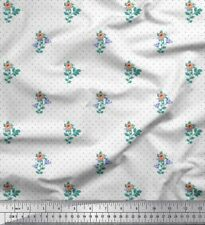 Soimoi Fabric Dot,Leaves & Rose Floral Printed Craft Fabric by the Yard-FL-1649M