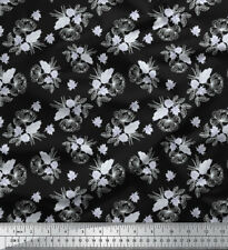 Soimoi Fabric Leaves & Jasmine Floral Printed Craft Fabric by the Yard - FL-946A