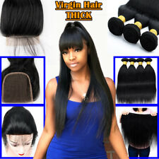 LONG 8-30inch 3 Bundles with Closure Unprocessed Brazilian Virgin Human Hair US