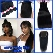 3 Bundles with Closure Unprocessed Brazilian Virgin Human Hair THICK Natural US