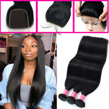 3 Bundles with Lace Closure Brazilian Virgin Human Hair THICK Natural Black US