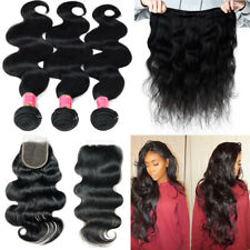 8-30inch 3 Bundles with Closure Brazilian Virgin Human Hair Body Wave FULL HEAD