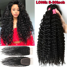 Virgin Brazilian Hair Curly Weave Human Hair 3 Bundles and Closure Full Head